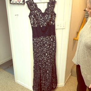 Navy blue floral lace formal gown